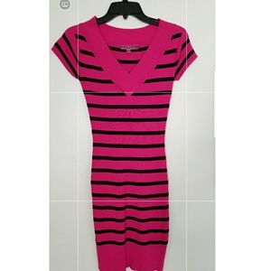 Fuschia and black striped Derek Heart dress